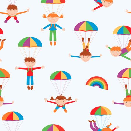 Vector Muster der fröhlichen Kinder, die mit den Fallschirmen fliegen