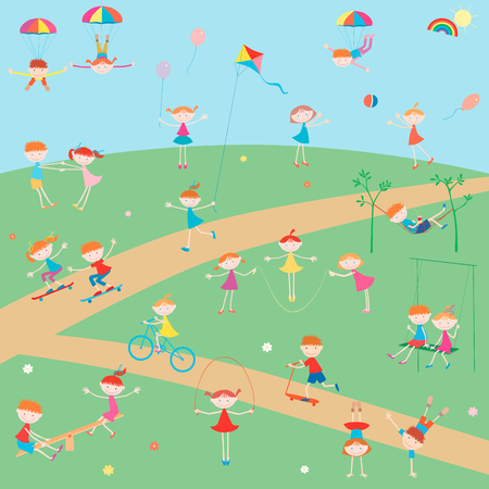 The vector image of the cheerful children playing in a summer sunny day.