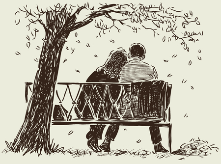 Vector image of the loving couple on the park bench.