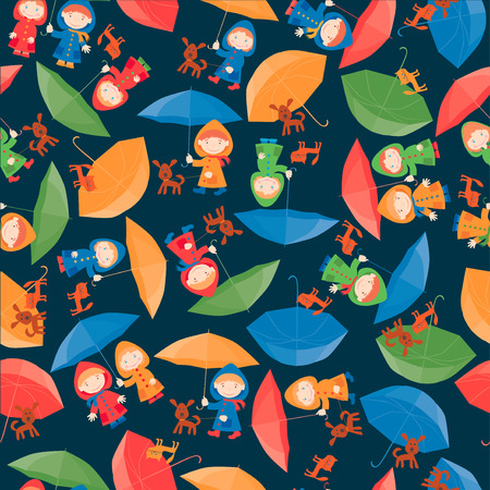 The vector pattern of the cheerful children with the umbrellas.