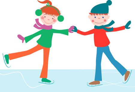 Das Vektorbild der Teenager Eislaufen. Standard-Bild - 80177027