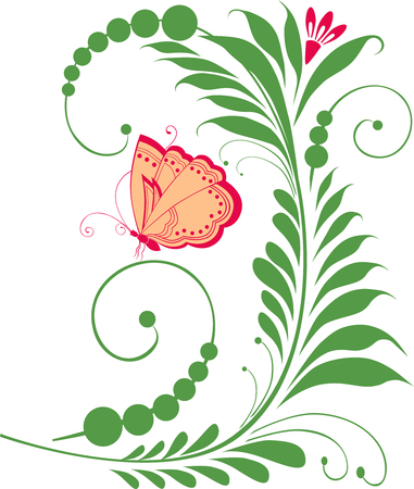 The vector image of a decorative flower and butterfly.
