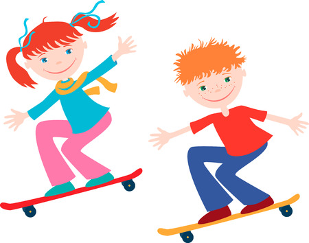 The vector image of two cheerful children on skateboards.