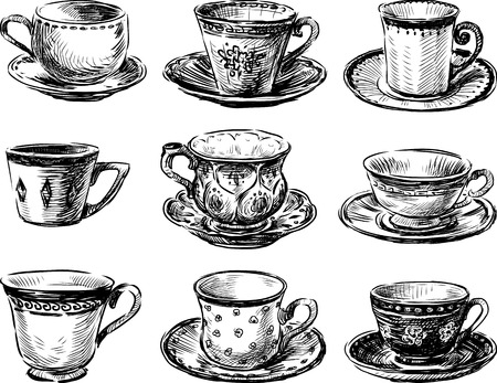 Vector image of the various tea cups collection.