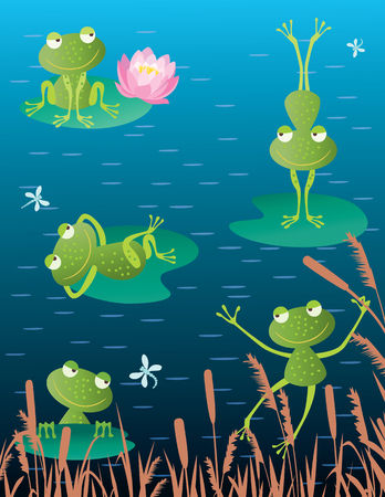 Vector illustration of the cheerful frogs on the bog.