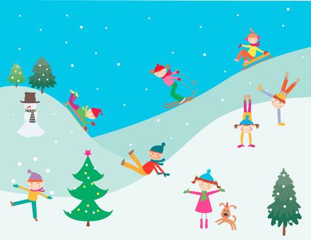 L'image vectorielle des enfants heureux jouant dans la journée d'hiver. Vecteurs