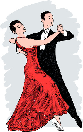 Vector image of the people dancing tango. Illustration