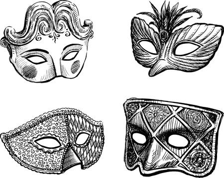 false: Vector drawing of a different carnival masks. Illustration