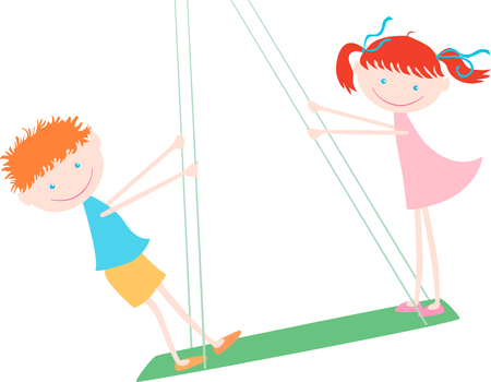 Vector image of a two-cheerful children on a swing. Illustration