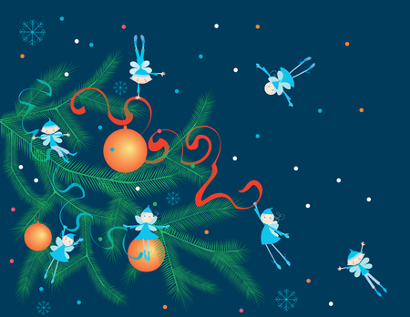 a bough: The vector image of the winter elves on the christmas branch.