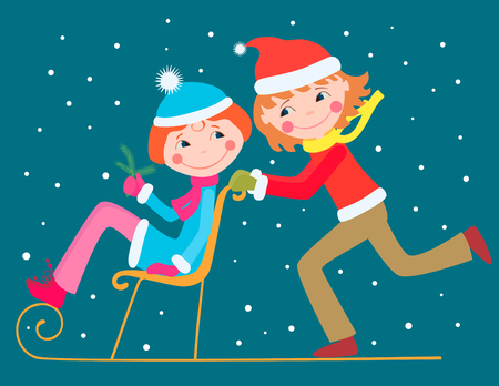 The vector image of the cheerful teens ride on the sledge.