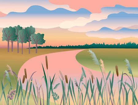 The vector image of a pink dawn on the riverside. Illustration