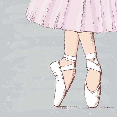 Vector drawing of legs of the dancing ballerina. Иллюстрация