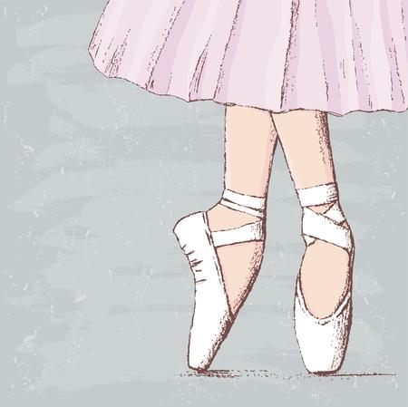 Vector drawing of legs of the dancing ballerina. Stock Illustratie