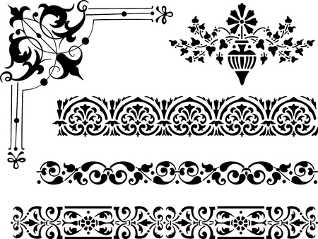 The vector image of a different decorative elements. Ilustração