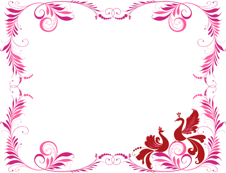 Vector image of a decorative frame with two birds. Illustration