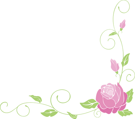 Vector image of a floral corner with a decorative rose.