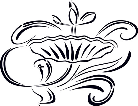 The vector image of a decorative drawn flower.