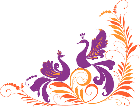 Vector image of a fantastic birds and a plant in the form of a decorative corner.