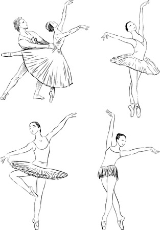 lyrical: Vector image of ballet dancers in various poses of dance.