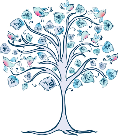 The vector image of a decorative tree in winter.