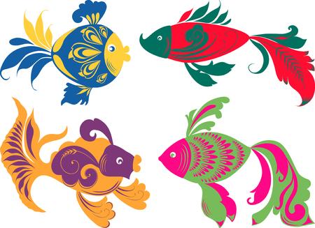 The vector image of the four decorative fishes. Ilustração