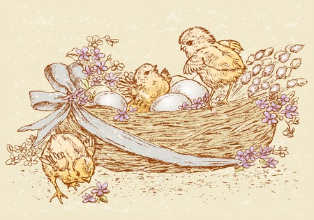The vector drawing of an easter basket with eggs, flowers and chickens. Illustration