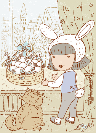 blind child: Vector drawing of a little girl in the Easter day.
