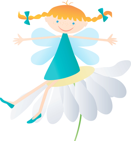 The vector image of a funny elf girl on a camomile.