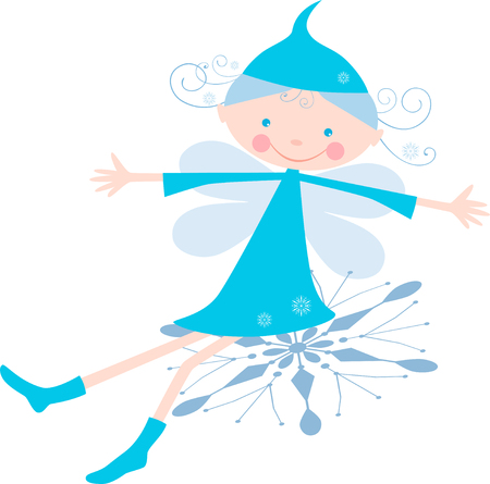 The vector image of a winter girl cheerfully sitting on a snowflake.
