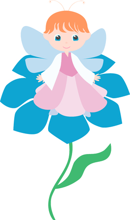 The vector image of a cute girl sitting on the flower.