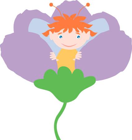 elves: The vector image of a small elf in the flower.