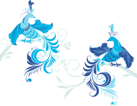 tendrils: The vector image of the decorative fairy birds.