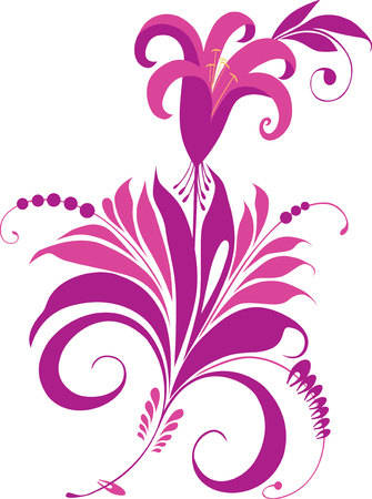 Vector image of a decorative fabulous flower.