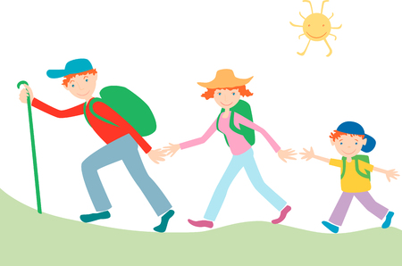 The vector image of a cheerful traveling family.