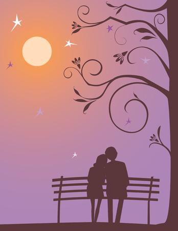 月明かりの晩に夢中のカップルのベクター画像。 写真素材 - 80317496