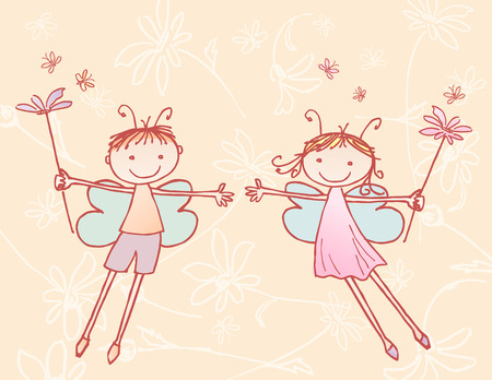 elves: The vector image of a two flying elves in style of a sketch.