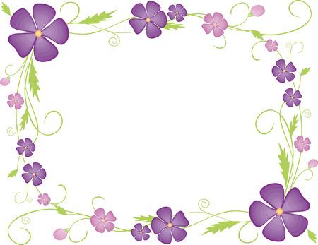 Een vector decoratief kader van violette kleuren en krullen.