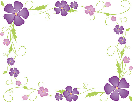 Una cornice decorativa vettoriale dai colori viola e riccioli. Archivio Fotografico - 80331143