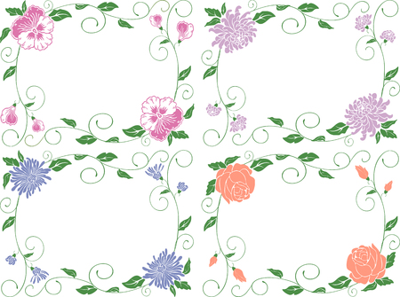 Decorative vector framework from a flowers, leaves and curls. Reklamní fotografie - 80331153