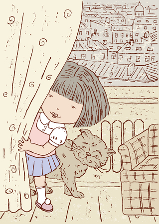 The vector drawing of the little girl who is playing hide-and-seek.