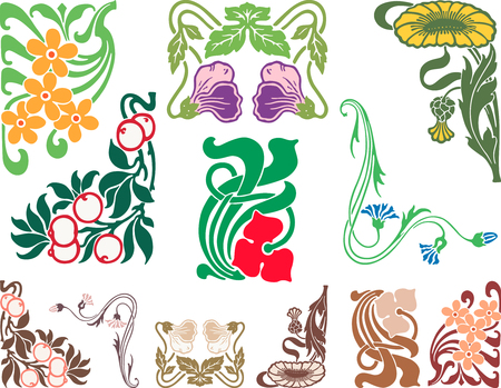 The vector image of a decorative floral design elements.