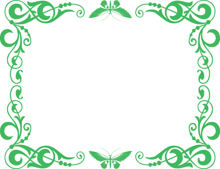 The vector image of a decorative frame with butterflies.