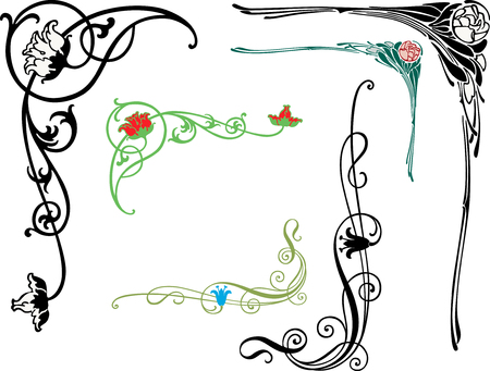 The vector design of a decorative floral corners. Ilustração