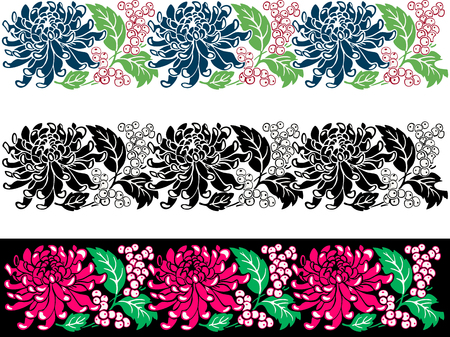 The vector image of a floral border with a chrysanthemum.