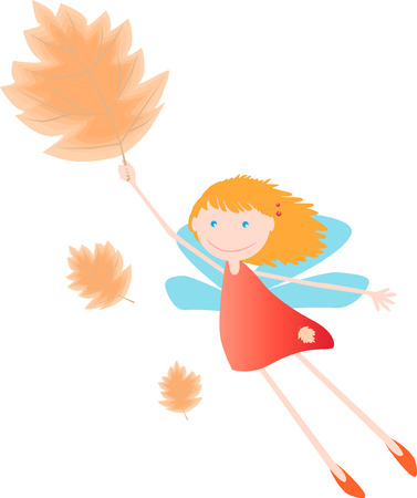 elves: The vector image of the small autumnl fairy flying on a fall leaf.