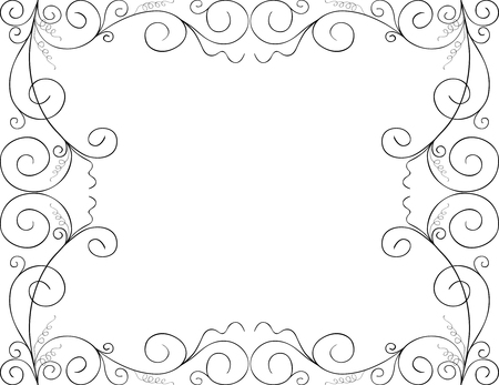 The vector image of a decorative green frame.