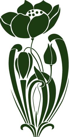 꽃 봉 오리와 장식 꽃의 벡터 이미지.