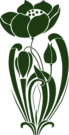 The vector image of a decorative flower with buds.
