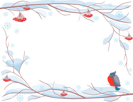The vector image of a decorative framwork from a frozen branch of a mountain ash.